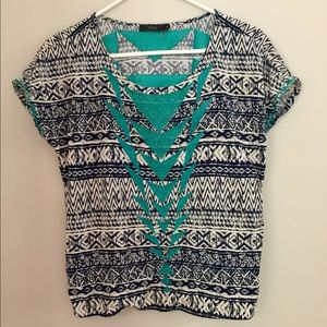 THML navy and ivory embroidered Aztec top medium
